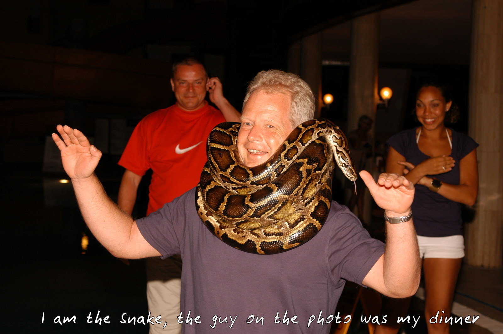 I am the snake. The guy on the photo was my dinner.